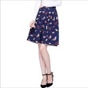 Grace Karin Bird Print Pleated Skirt, Size Medium